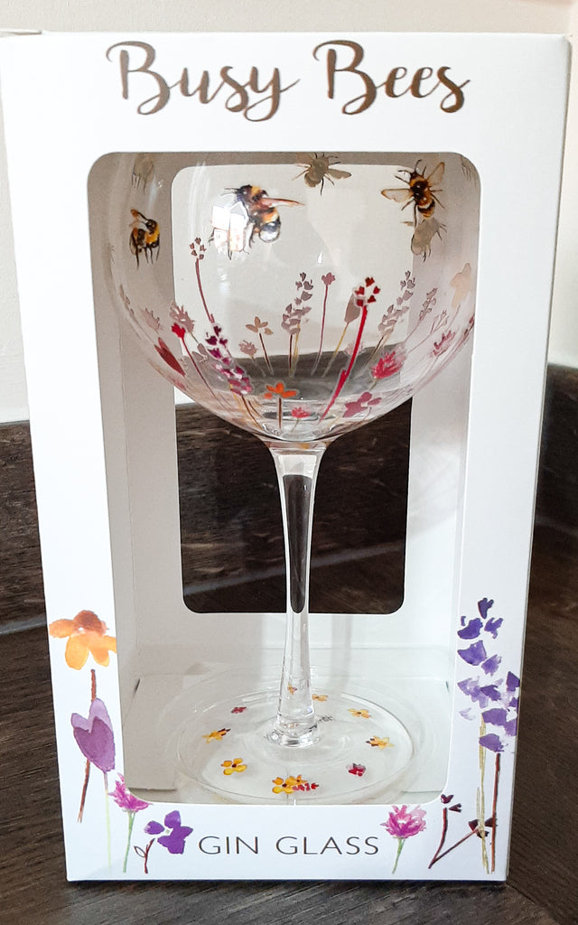 Painted Bee Gin Glass
