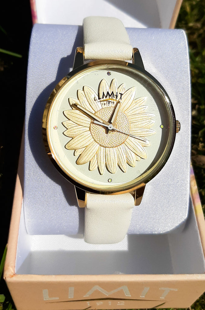 Yellow Gold Sunflower & White Strap Limit Watch