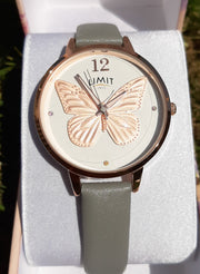 Rose Gold Butterfly & Grey Strap Limit Watch