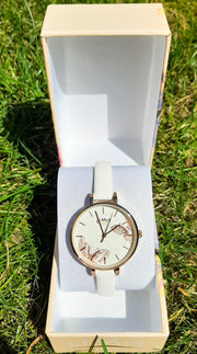 Limit Rose Gold Butterflies White Strap watch