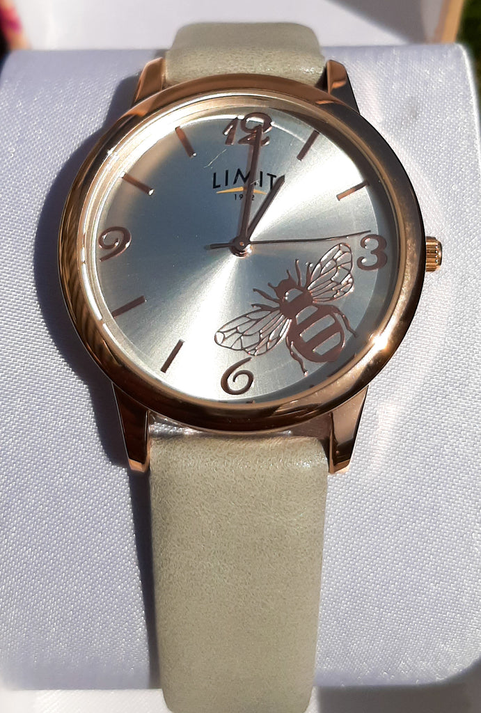 Limit Rose Gold Bee & Grey Strap Watch