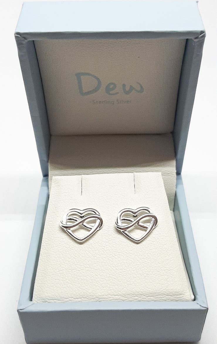 Dew Infinity Heart Stud Earrings