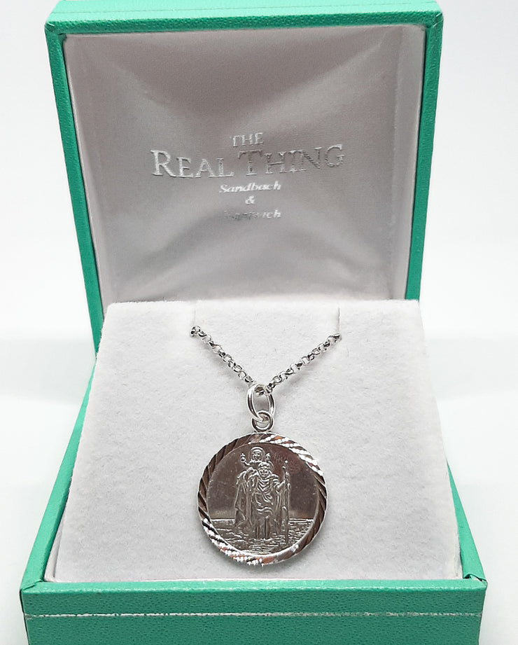 Silver Diamond Cut St Christopher Necklace