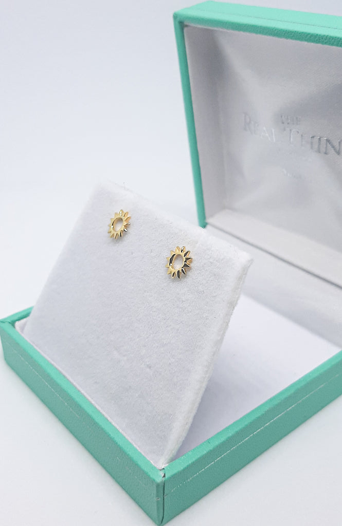 Yellow Gold Open Sun Stud Earrings