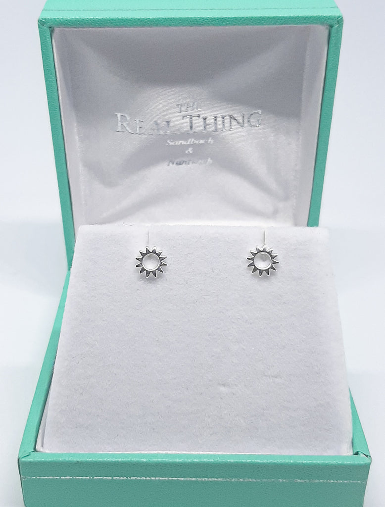 Silver Open Sun Stud Earrings