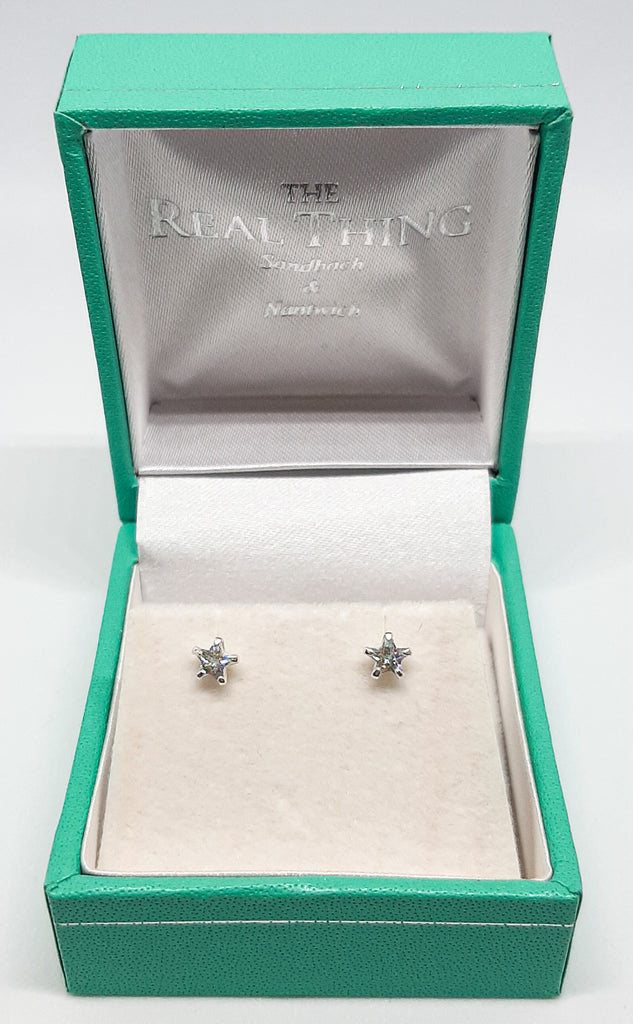 Clear Crystal Star Stud Earrings