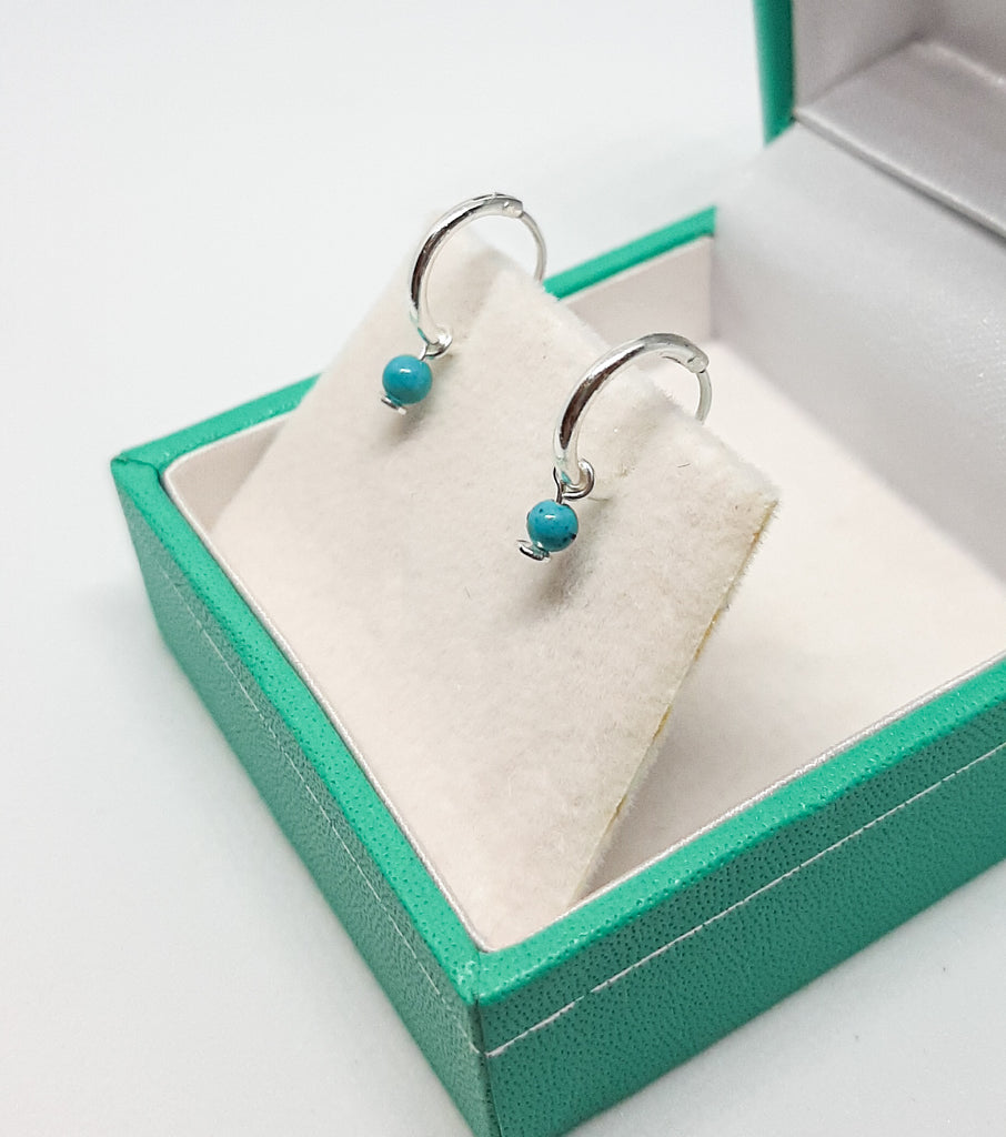 Turquoise Ball Hoop Earrings