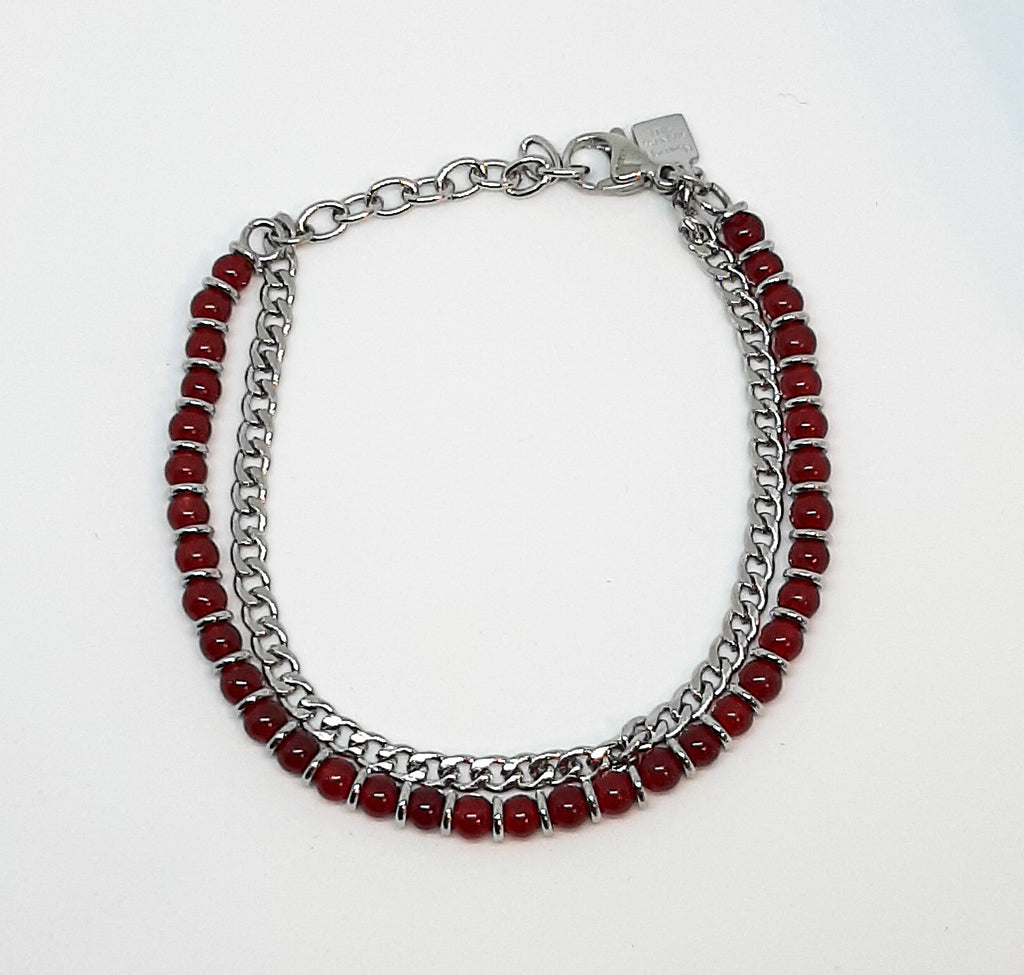 Nomination Red Agate 2 Chain Bracelet