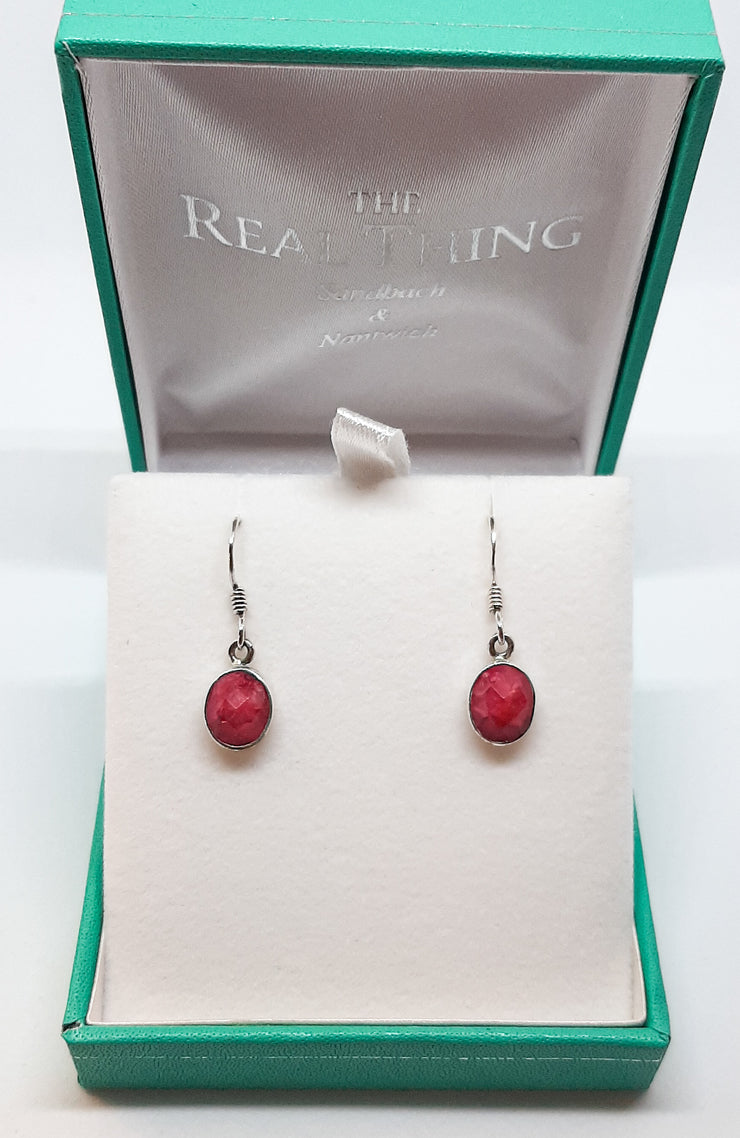 Oval Faceted Ruby Drop Earrings