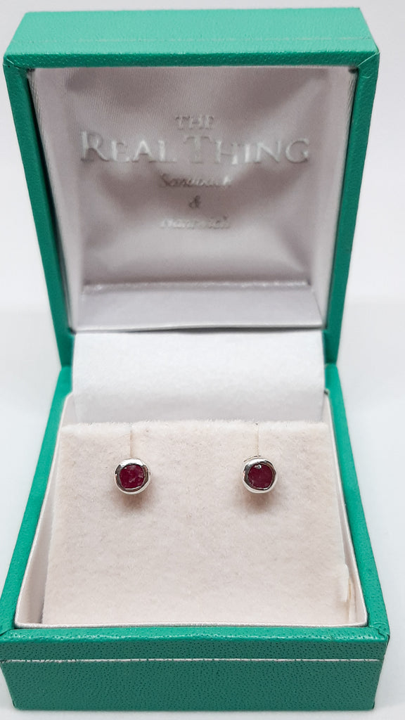 Small Round Ruby Stud Earrings