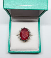 Large Oval Bobble Edge Ruby Ring