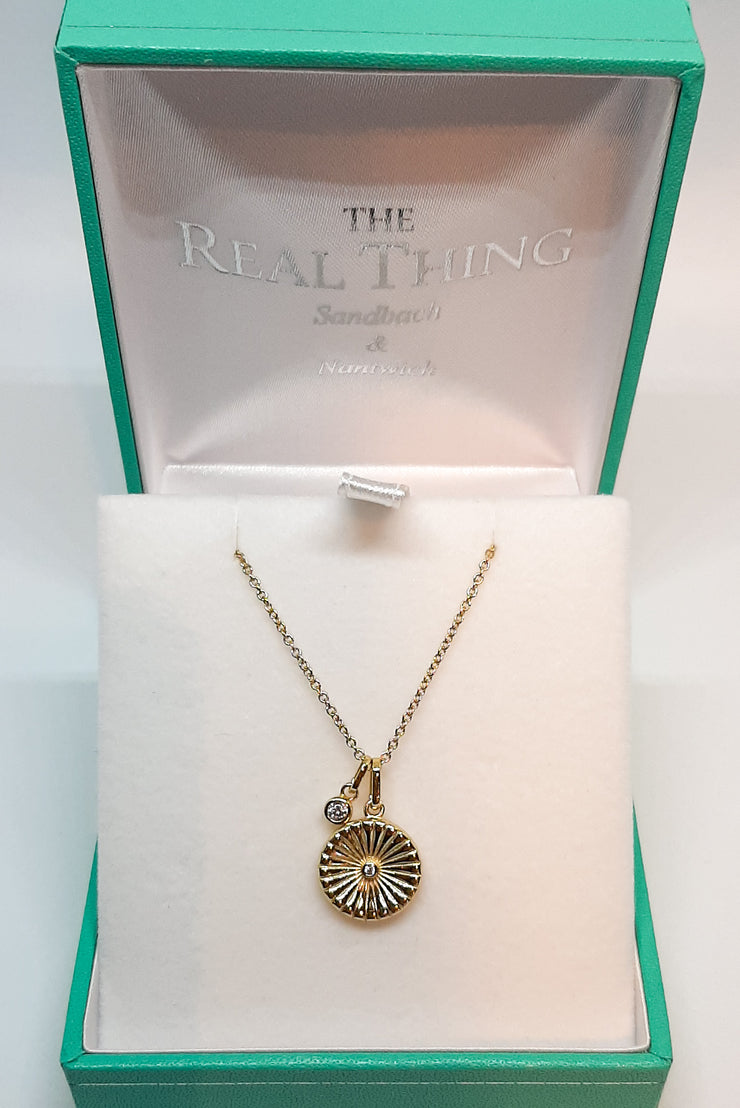 Yellow Gold Double Aztec Disc & Cz Pendant