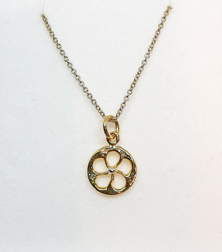 Yellow Gold Cut Out Flower Pendant