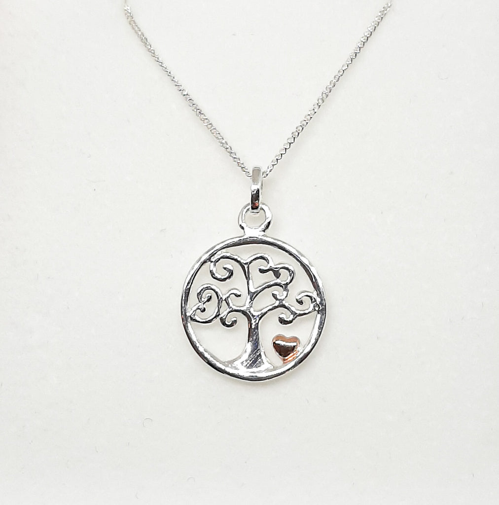Silver & Rose Gold Tree Of Life Heart Pendant