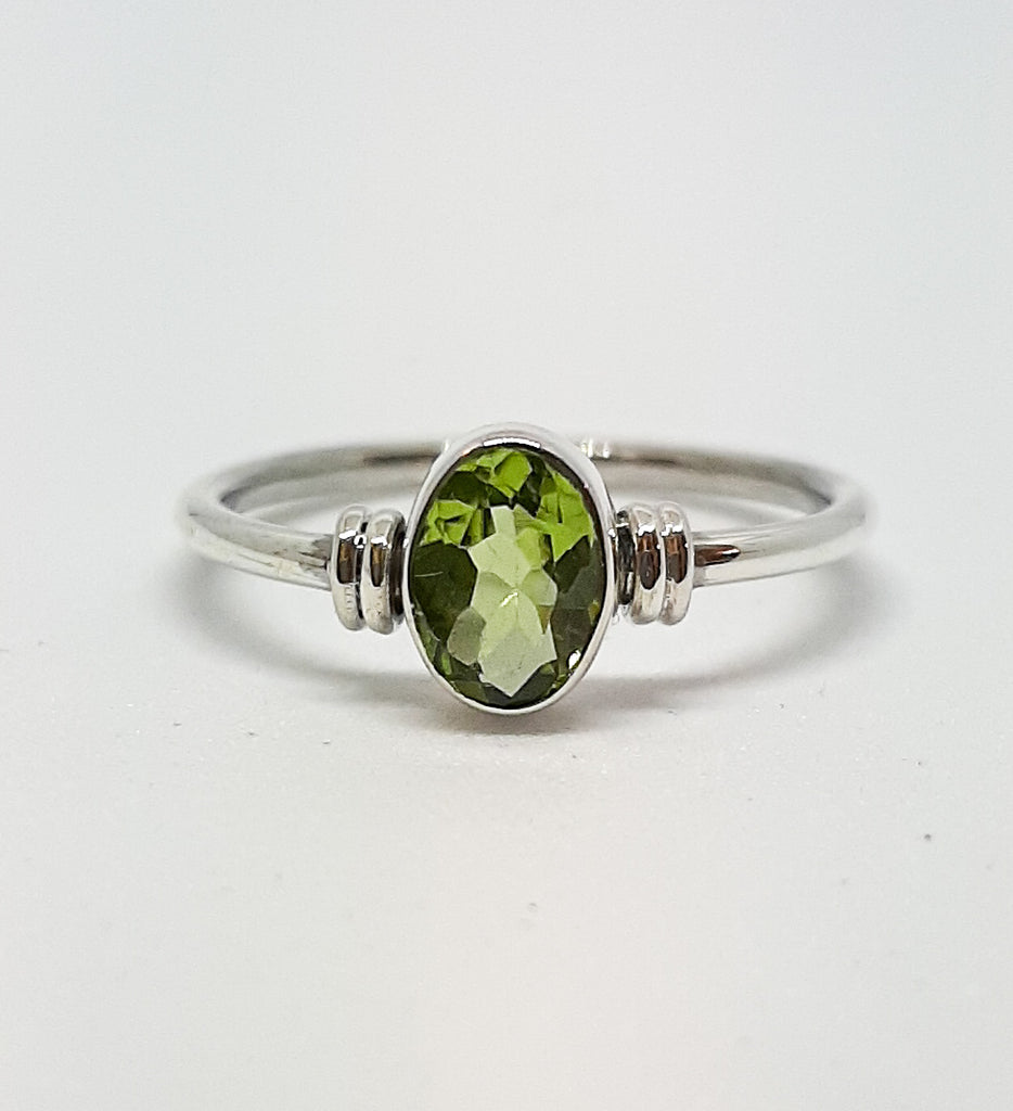 Oval Peridot Silver Ring