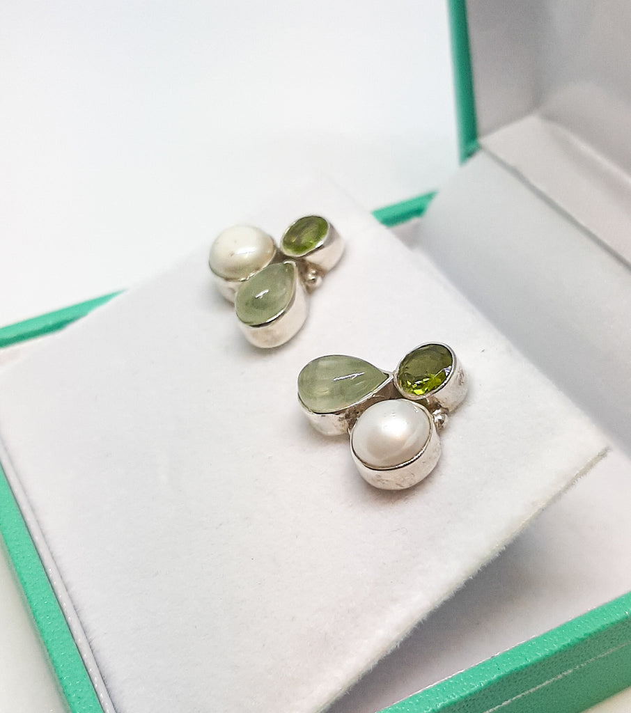 Peridot, Prehnite & Pearl Cluster Stud Earrings