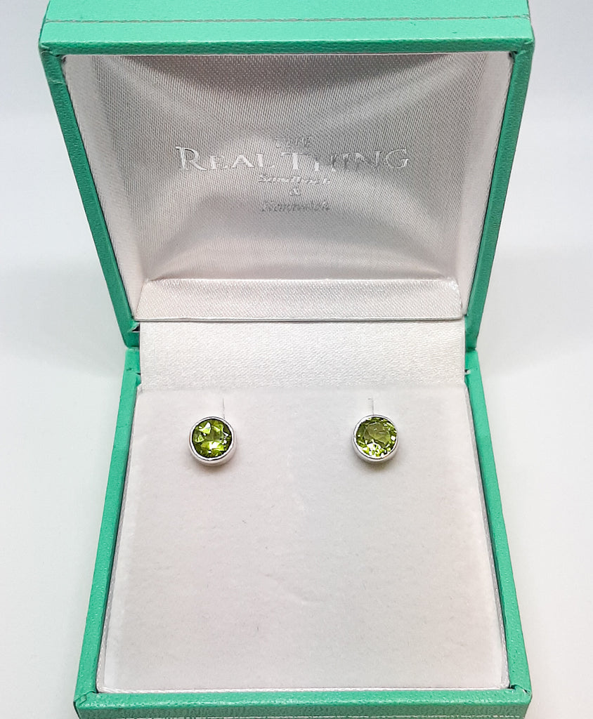 6mm Round Peridot Stud Earrings