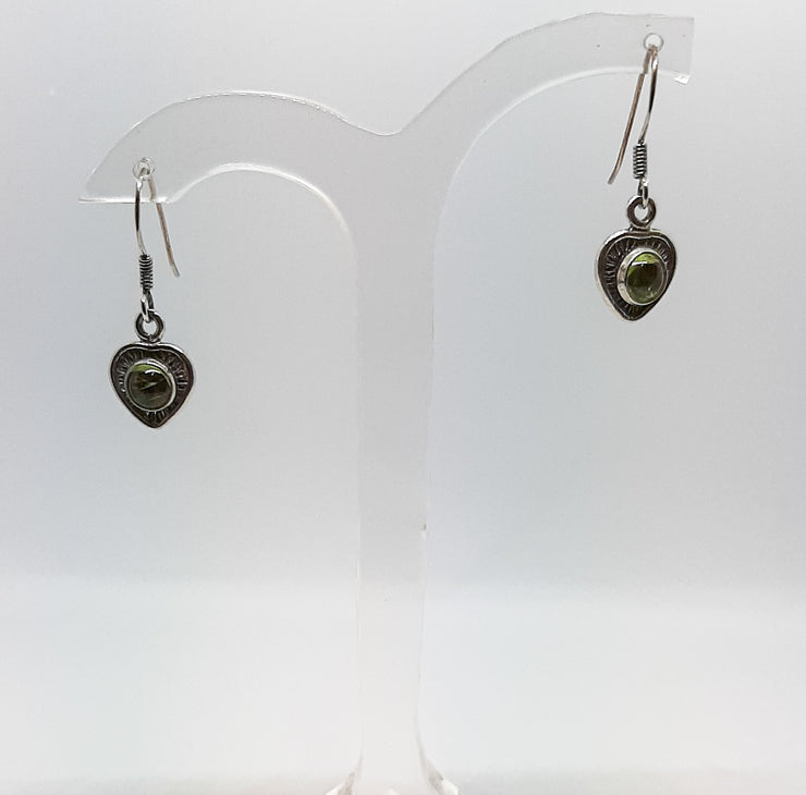 Peridot Heart Drop Earrings
