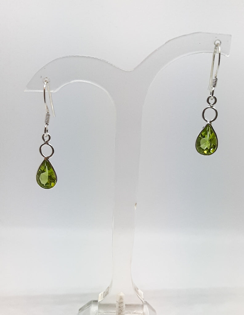 Circle & Teardrop Peridot Drop Earrings