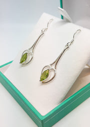 Long Heart Drop Peridot Earrings
