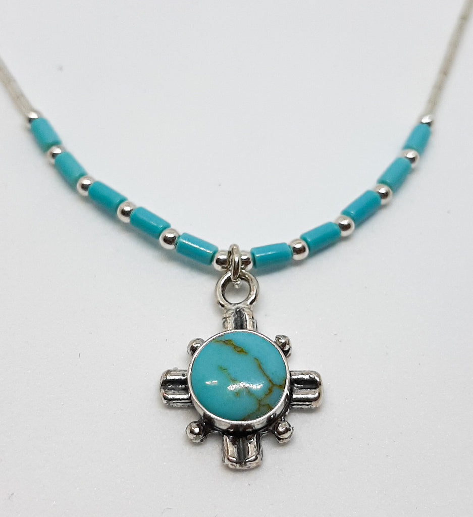 Round Turquoise Cross Necklace