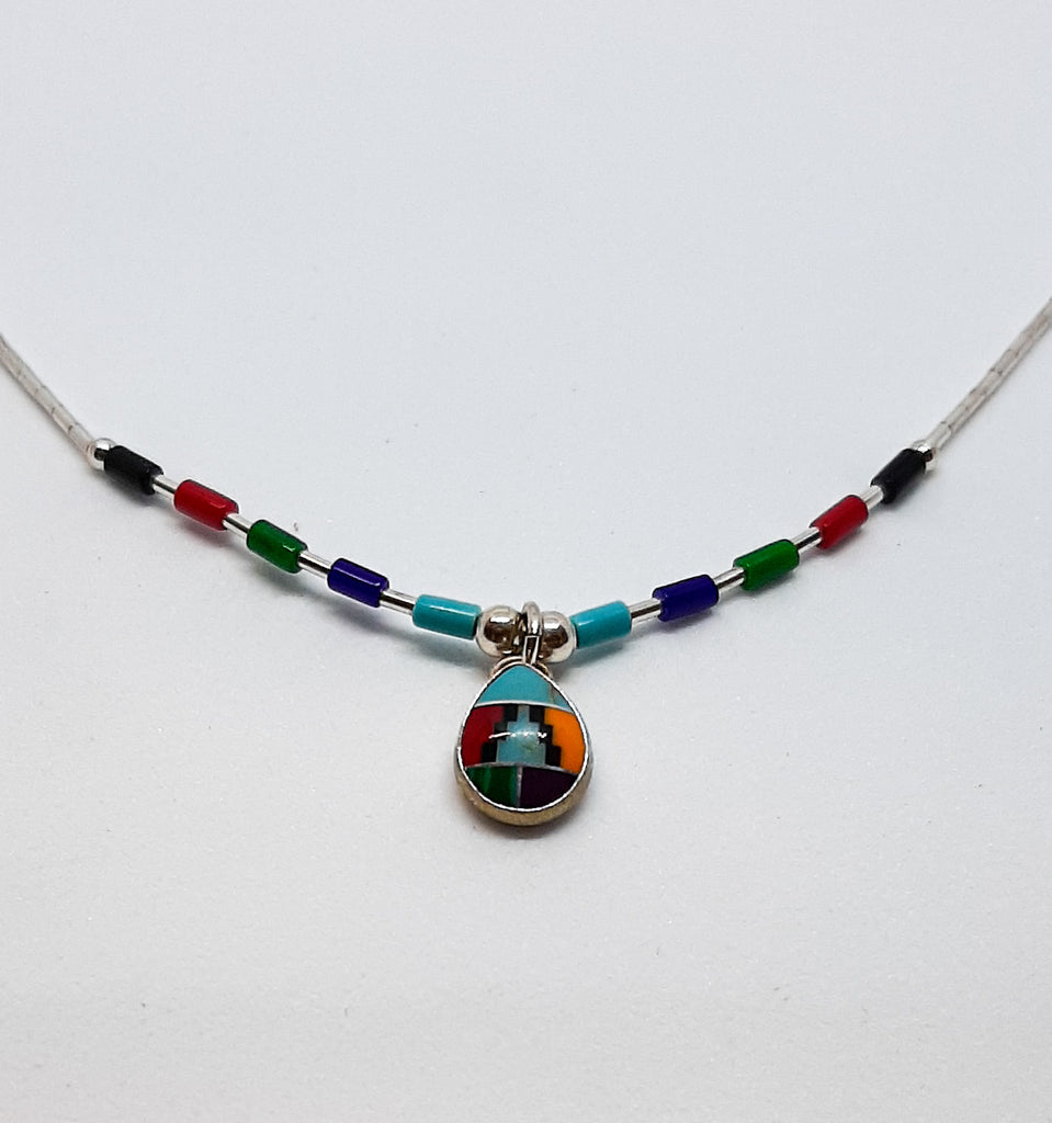 Turquoise Aztec Tear Drop Necklace