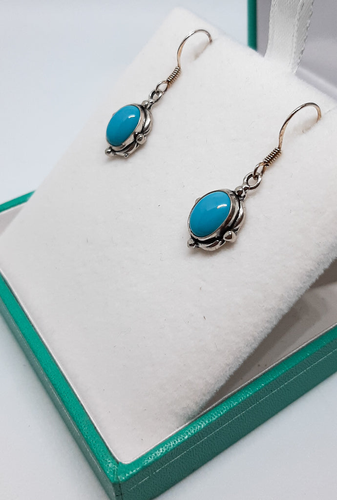 Turquoise Bobbled Oval Silver Drop Earrings