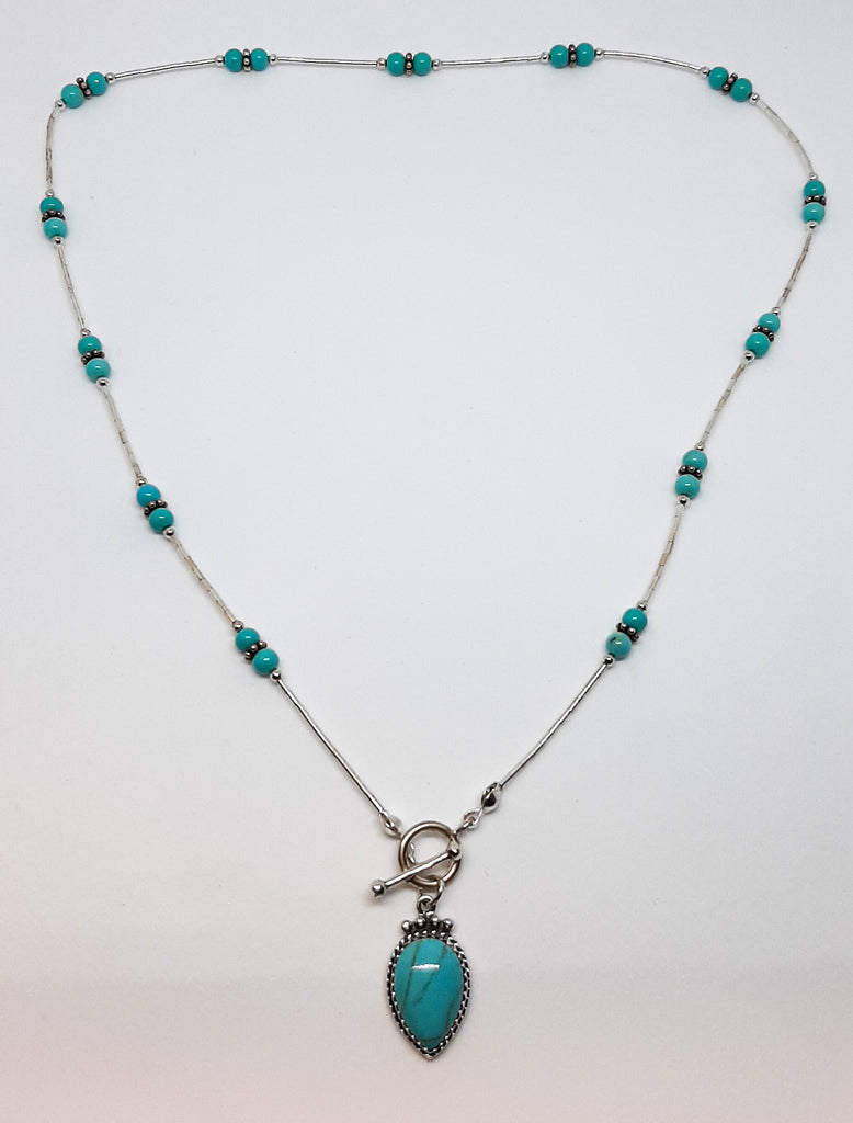 Large Turquoise Tear Drop T-Bar Necklace