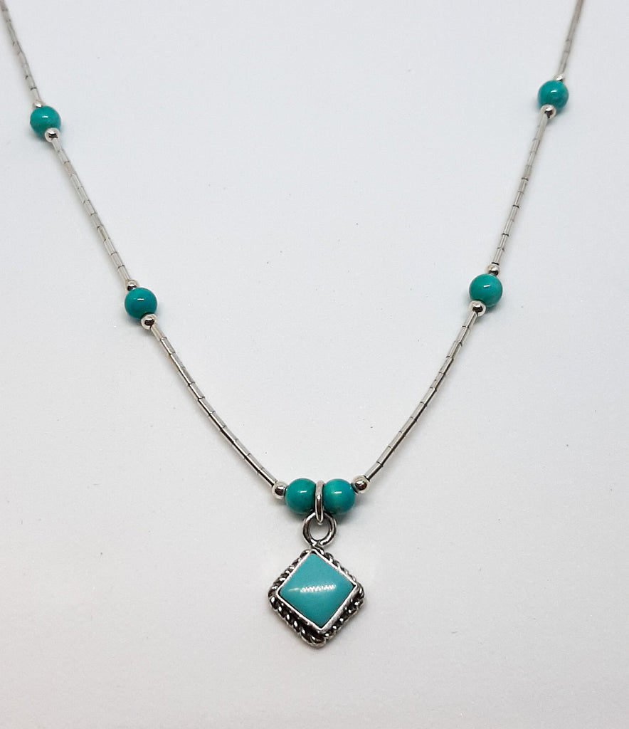 Turquoise Diamond Shaped Necklace