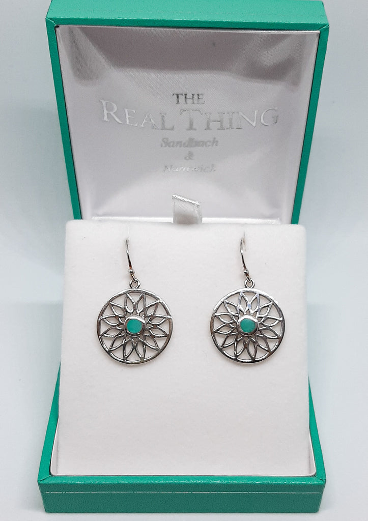 Turquoise Mandala Disc Drop Earrings