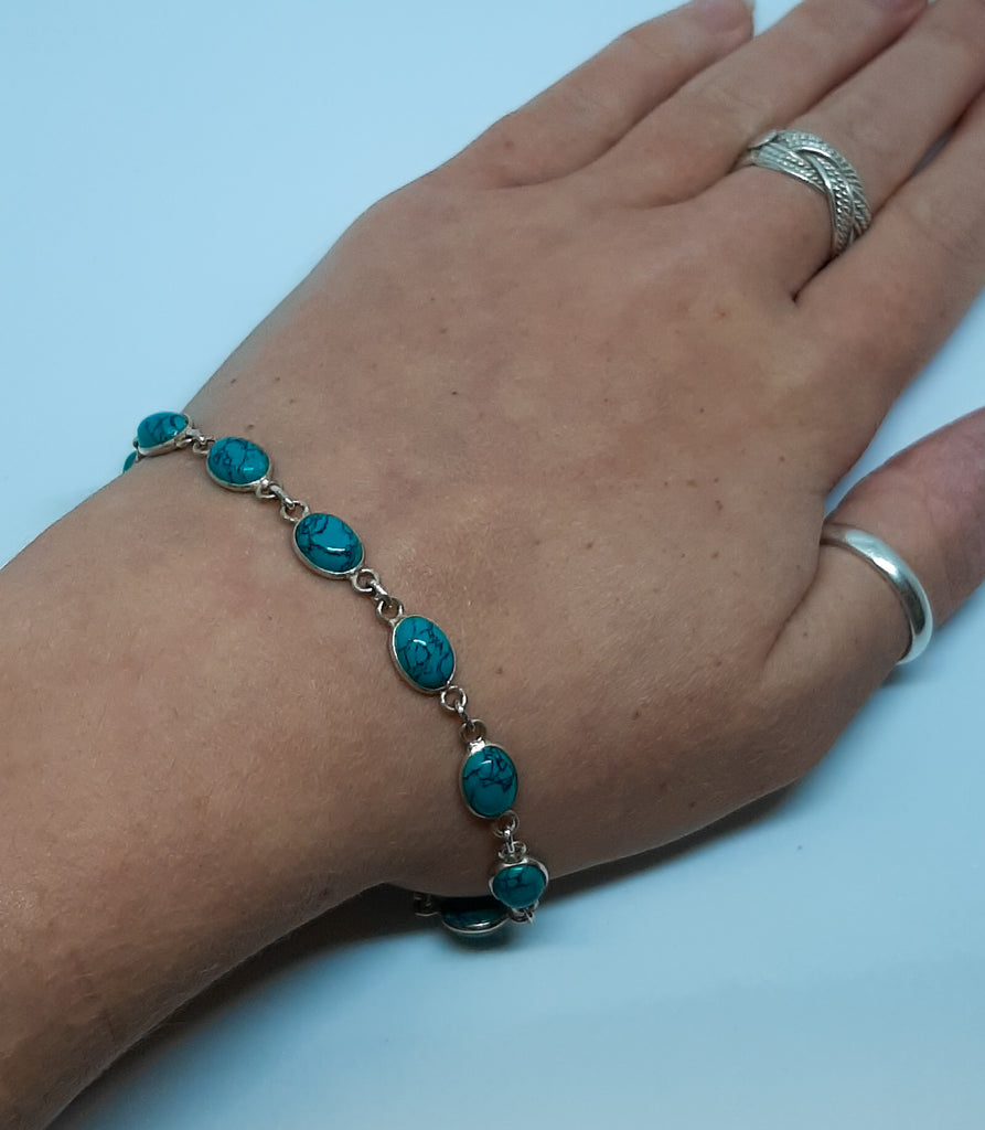Turquoise Small Oval Linked Bracelet