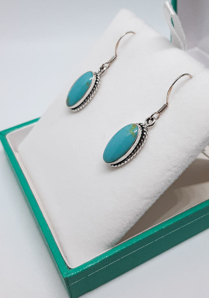Turquoise Oval Rope Edge Drop Earrings