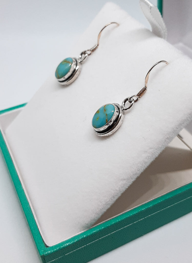 Turquoise Oval Drop Earrings