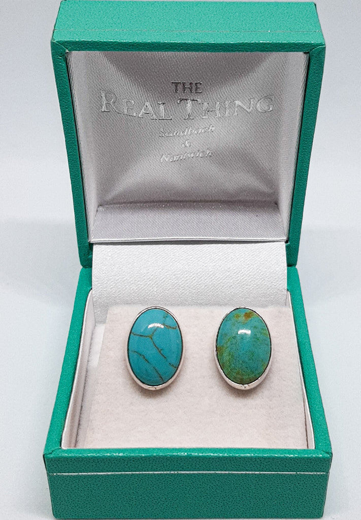 Turquoise Large Oval Stud Earrings