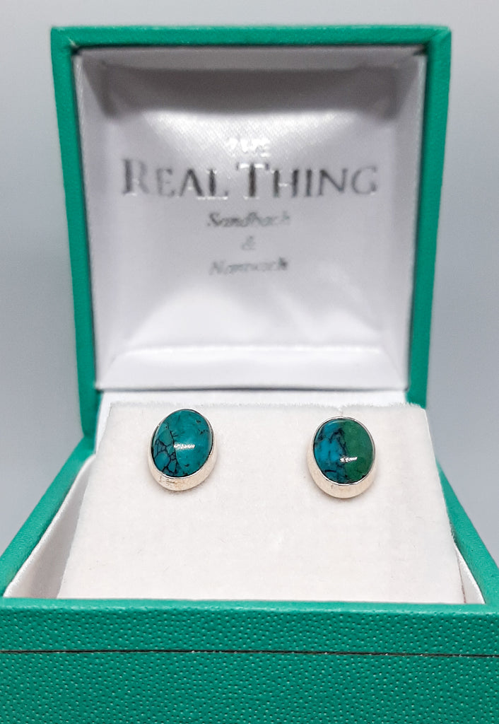Turquoise Small Oval Stud Earrings