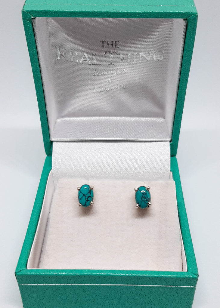 Claw Set Oval Turquoise Stud Earrings