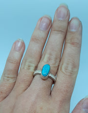 Detailed Band Thin Oval Turquoise Ring