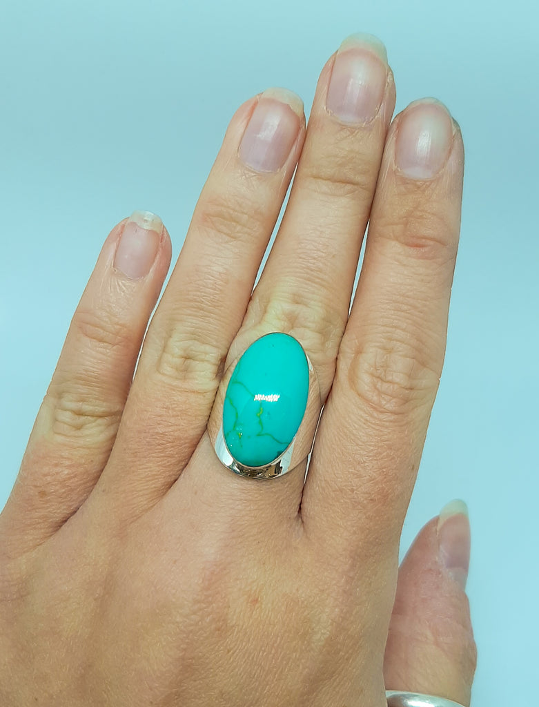 Turquoise Large Oval Thick Silver Ring