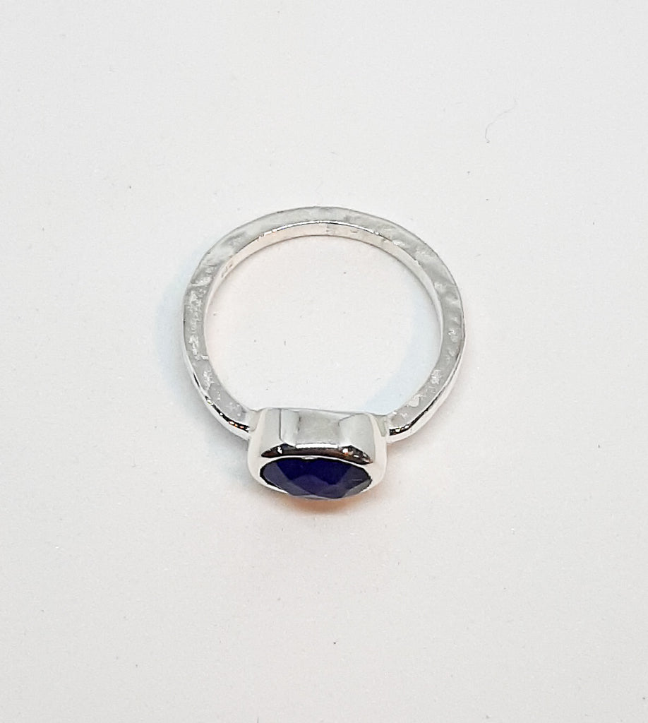 Sapphire Oval Stone Hammered Band Ring