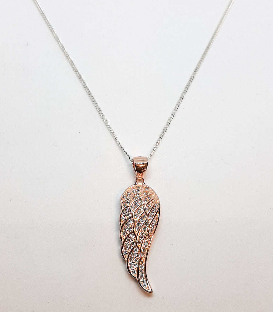 LARGE ROSE GOLD CZ ANGEL WING PENDANT