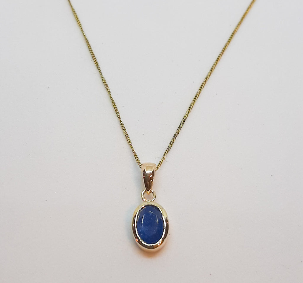 9ct Gold Sapphire Oval Pendant