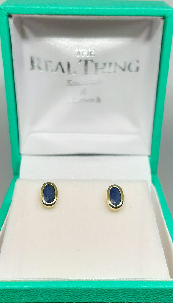9ct Gold Sapphire Oval Stud Earrings