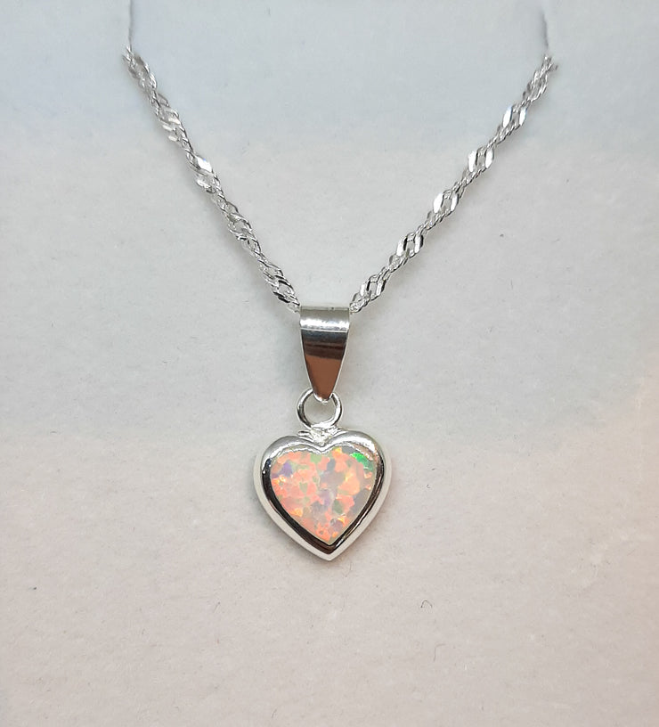 Silver & white opal heart pendant on silver twisted chain