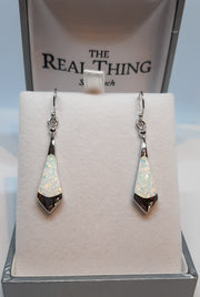 Opal Geometric Long Drop Earrings