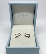 dew silver scottie dog stud earrings