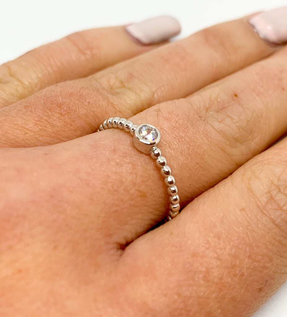 Silver Crystal Bobble Ring