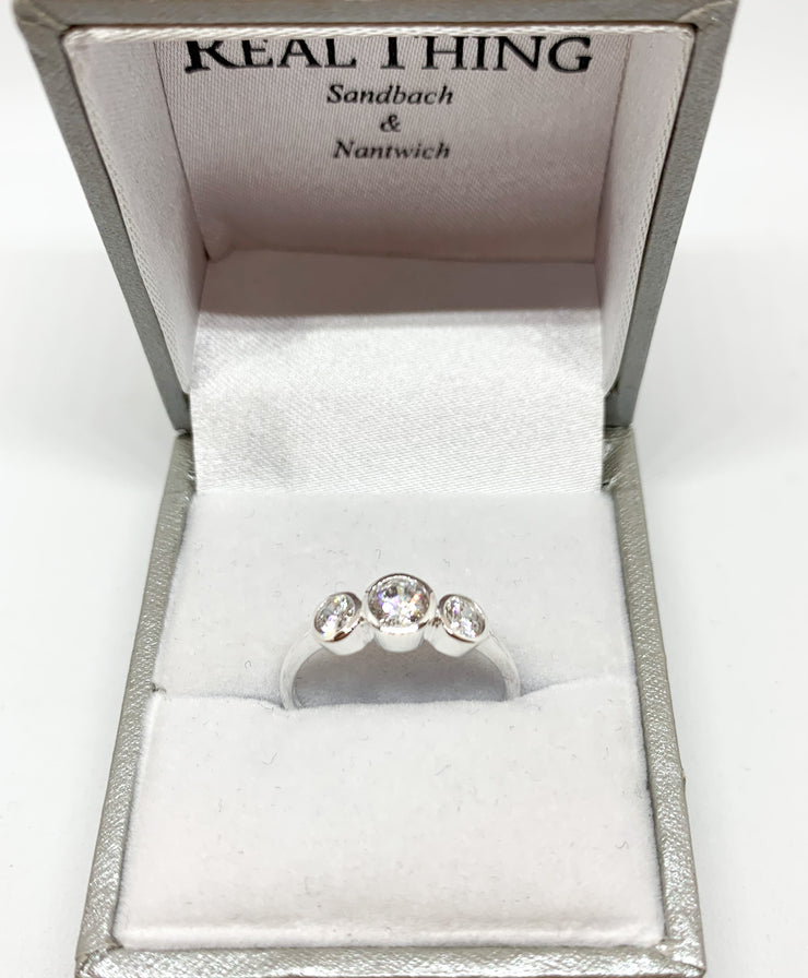 triple cubic zirconia bezel set silver ring