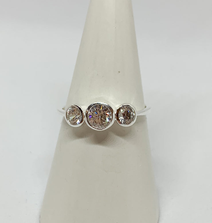 Triple Round Crystal Stone Ring