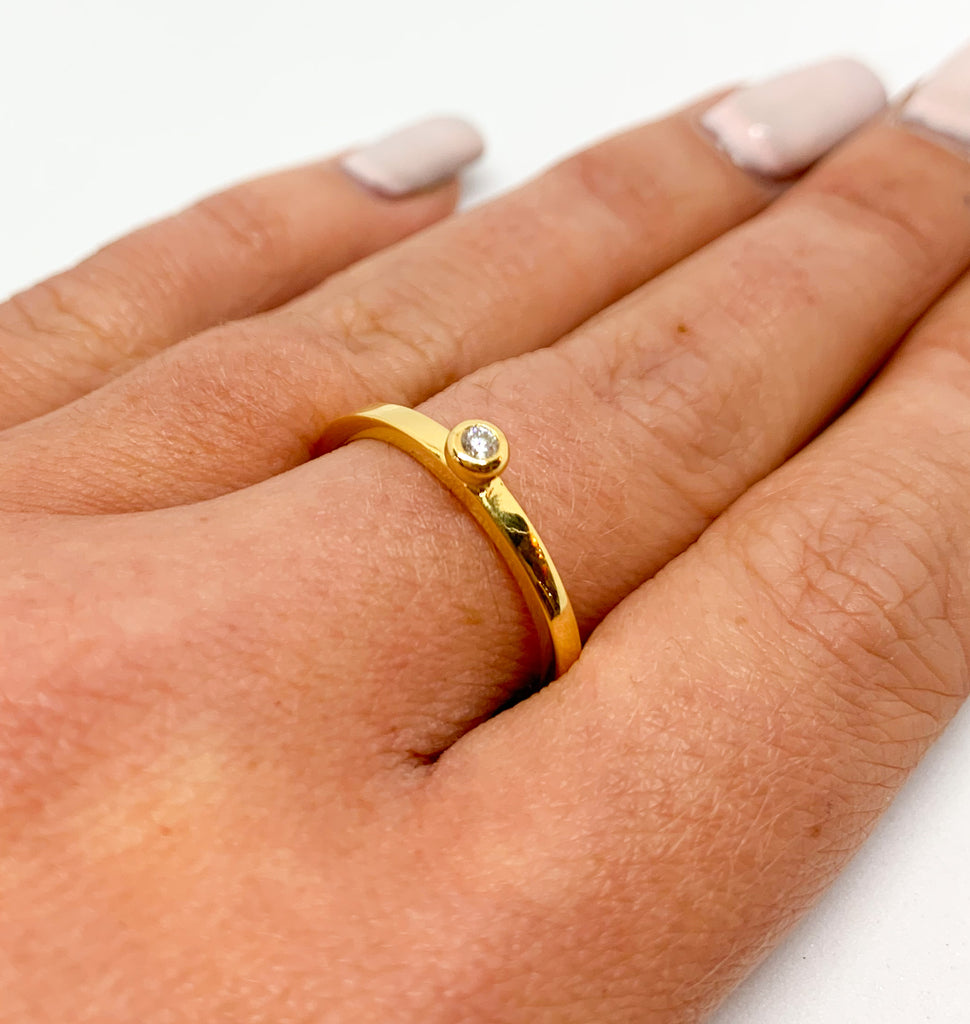 Gold Crystal Ball Ring