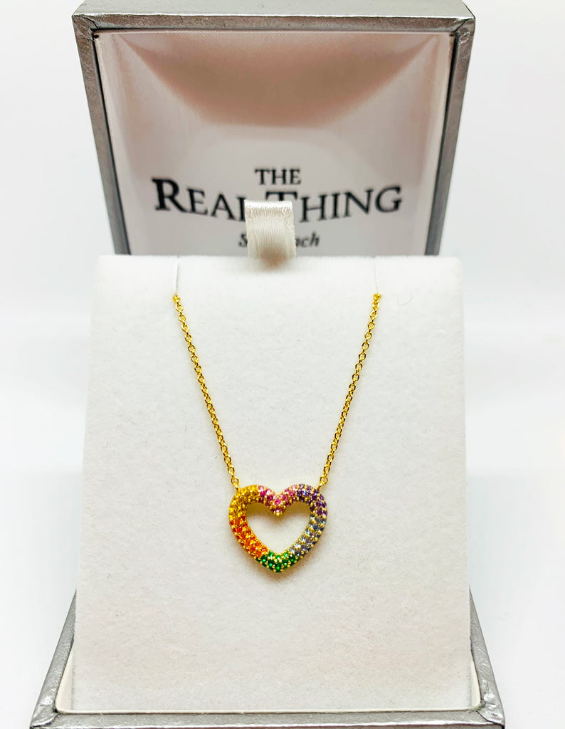 Gold Rainbow Heart Necklace
